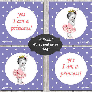 EDITABEL-Princess Baby Shower baby princess Cupcake Toppers Printable Party baby DIY Party Toppers girl purple dotsfavor tags