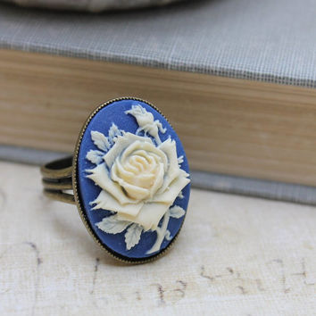Blue Rose Ring Vintage Style Ring Flower Cameo Ring Large Cocktail Ring Floral Resin Jewelry French Blue Victorian Romantic Stocking Stuffer