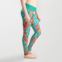 Melon and Aqua Geometric Tile Pattern Leggings by Micklyn