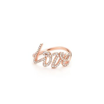 Tiffany & Co. -  Paloma Picasso® Love ring of diamonds and 18k rose gold, small.