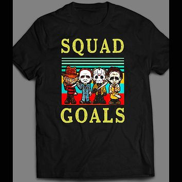 MICHAEL MYERS, FREDDY KREUGER, JASON, & LEATHERFACE SQUAD GOALS HALLOWEEN SHIRT