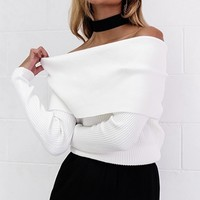 Free To Love White Long Sleeve Fold Over Off The Shoulder Ribbed Sweater