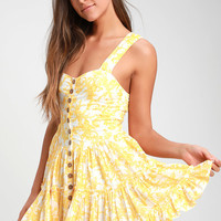 Dance On the Blacktop Yellow Floral Print Mini Dress