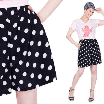 Free Shipping Shorts 90s Black White Polka Dot Vintage 1990s Elastic Waste Pockets