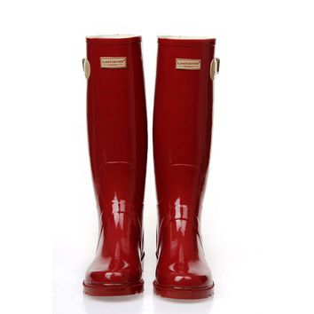 PVC Red Ladies Waterproof Rain Boots Women Rubber Breathable Fashion Knee High Anti-slip Rainboots Water Shoes Female Botas Hot