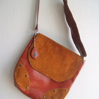 Leather bag crossbody brown vintage I Santi designer bags made in Italy