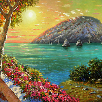 Sea Bay in the evening - Oil on canvas Painting by Dmitry Spiros. wall decor, home decor, relax sea painting, living room decor art