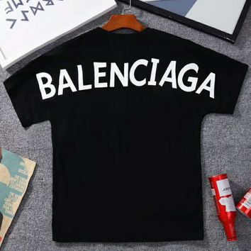 BALENCIAGA 2018 Summer New Back Print Short Sleeve Cotton T-Shirt F-Great Me Store black