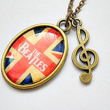 The Beatles of the United Kingdom pendant with treble G clef charm necklace
