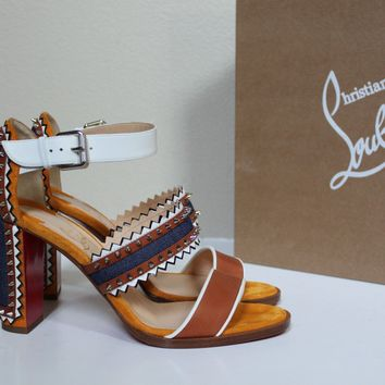 New sz 39 Christian Louboutin Montezumina Spike Open Toe Ankle Sandal Shoe