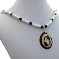 Tagua Dolphin Puka Shell Dumortierite Necklace