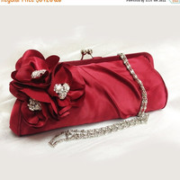 Wedding clutch, Bridesmaid clutch, Red clutch, evening bag, Bridesmaid bag, crystal clutch, flower bag