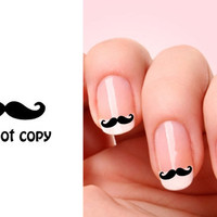 Set of 20 Mustache nail art decals.