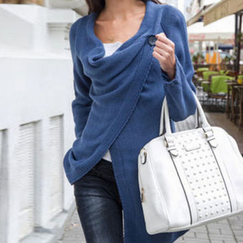 Fashion Solid color knitted coat