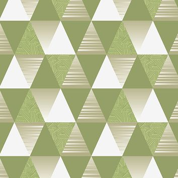 Copy of Copy of Wallpaper Reusable Removable Abstract Geometry Triangles Green Gray Interior AN005