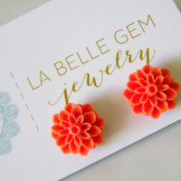 Orange Flower Earrings - Orange Cabochon Earrings - Orange Bridesmaid Earrings - Orange Flowergirl Earrings - Orange Earrings Orange Wedding