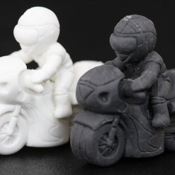 White and Black Motorcycle Pencil Topper Pair