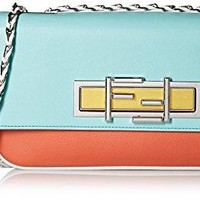 Fendi Women's 3Baguette With Cross-Body Chain, Pimento Red/Tiffany/White
