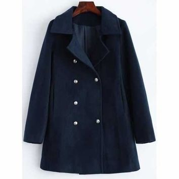 Lapel Slimming Double Breasted Wool Blend Coat - Purplish Blue L