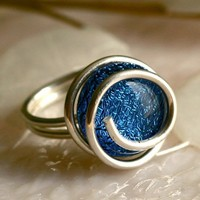 Wire Wrapped Dichroic Glass Ring