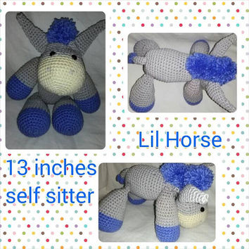 Lil Pony, Pony Softie, stuffed pony crochet baby toy, hobby horse, baby toy, stuffed animal friend, amigurumi, crochet animal toy