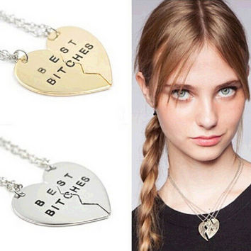 2015 Movie Jewelry New Style Fashion Broken Heart 3 Parts Best Bitches Necklaces & Pendants Jewelry Women Best Gift for Friends