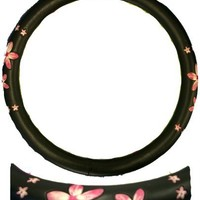 Simulated Leather Steering Wheel Cover with Embossed Design - Pink Flower
