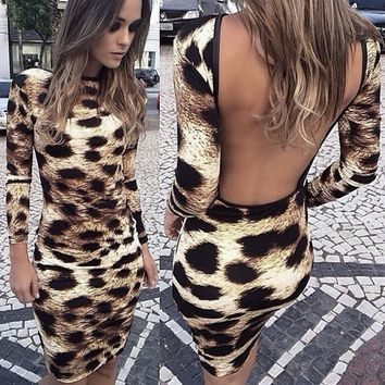 Leopard women Sexy summer dress