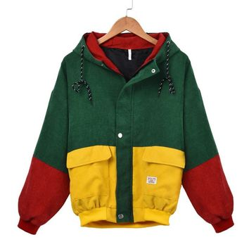 Women Long Sleeve Corduroy Patchwork Oversize Sport Jacket Coat Overcoat