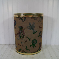 Vintage Fabric Upholstered Library Metal Waste Bin - Retro Golf Club Decor KraftWare Basket - Mid Century Sports Textured Fabric Design Can