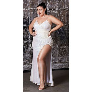 Plus Size Long Fitted Sequin Gown Opal Champagne Gathered Waistline Lace Up Back