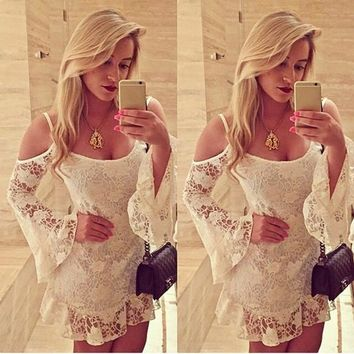 Lace Off-Shoulder White Mini Dress