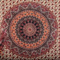MyNelo Twin Hippie Tapestry, Hippy Mandala Bohemian Tapestries, Indian Dorm Decor, Psychedelic Tapestry Wall Hanging Ethnic Decorative Tapestry, 54 x 84 Inches