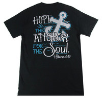 Bjaxx Hope Anchors the Soul Anchor Black Christian Girlie Bright T Shirt