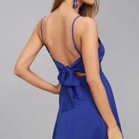 Yours Forever Royal Blue Backless Skater Dress