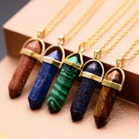 18 Colors Natural Stone Quartz Crystal Gemstone Pendants Statement Necklaces