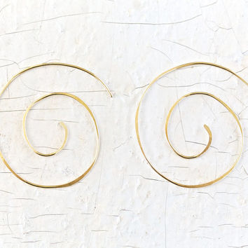 Big Gold Spiral Earrings - Boho Chic - Bold Jewelry - Spiral Jewelry - Simple Jewelry - Statement Jewelry