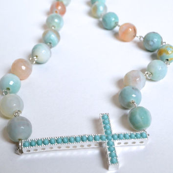 Trinity - Rosary style linked sideways cross necklace with real gemstones - faceted turquoise agate with turquoise studded cross