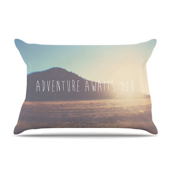 "Laura Evans ""Adventure Awaits You"" Coastal Typography Pillow Sham"