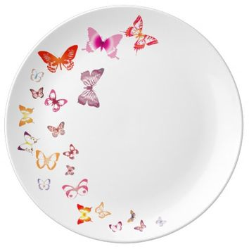 Colorful Butterflies Porcelain Plate