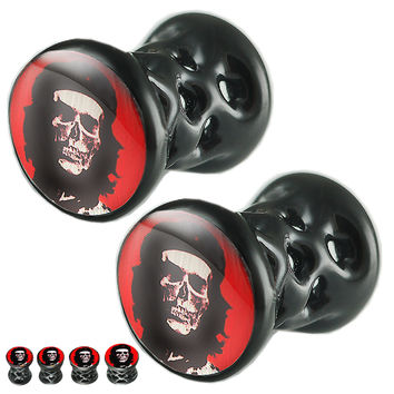 Che Skull Logo Double-Flared Plug - Alloy (Black) (Various Gauges) // Set of 2