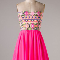 Aztec Party Dress - Hot Pink - Hazel & Olive