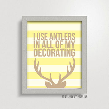 THE GASTON /// I use antlers in all of my decorating /// Disney /// Art Print