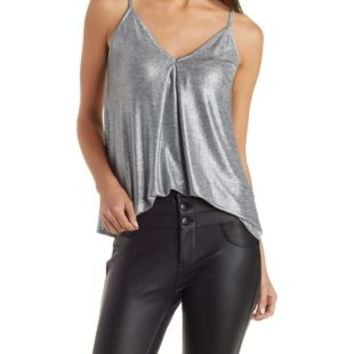 Silver Metallic Strappy Shimmer Swing Tank by Charlotte Russe