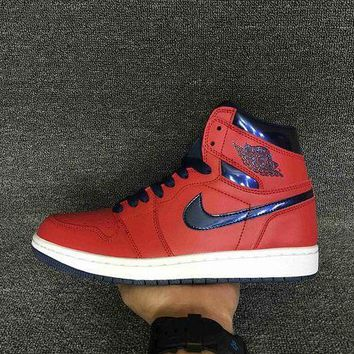 PEAPON3A VAWA Men's Air Jordan 1 Retro High Leather OG Letterman 555088-606 Basketball Shoes Red Blue
