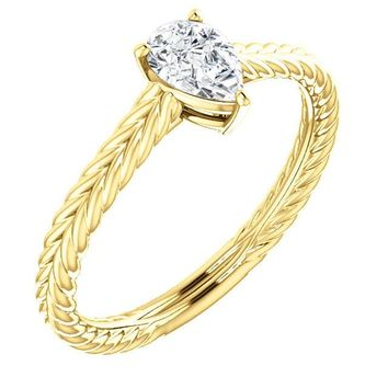 0.50 Ct Pear Diamond Engagement Ring 14k Yellow Gold