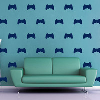Video Game Controller Silhouette Wall Decal Pattern Set