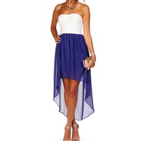 Sale-idali- Royal Blue Hi Lo Homecoming Dress