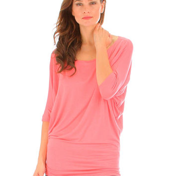 CORAL KEEP IT CASUAL SHORT SLEEVE TOP