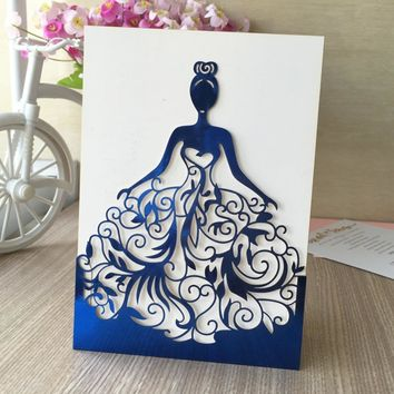 30pcs/lot Beautiful dress girl birthday paty wedding invitation cards Adult Ceremony invitaiton card blessing card QJ-68